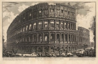 View of the exterior of the world's largest amphitheater by one of the 18th century's greatest print makers. With detailed key. 1st edition, Rome. Hind 57.