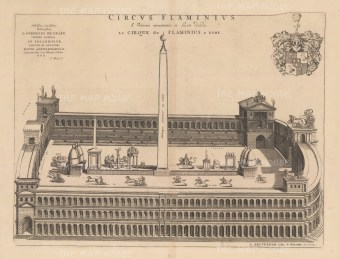 Chariot Racing in the hippodrome located at the south end of Campus Martius in the area of Teatro Marcello on the Tiber. After Johannes Blaeu.