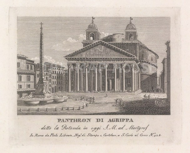 (Santa Maria Rotonda). View on the Piazza della Rotunda with its obelisk and fountain.