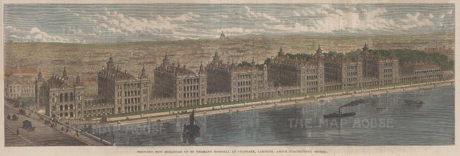 """Illustrated London News: St. Thomas's Hospital. 1885. A hand coloured original antique wood engraving. 10"""" x 6"""". [LDNp10027]"""