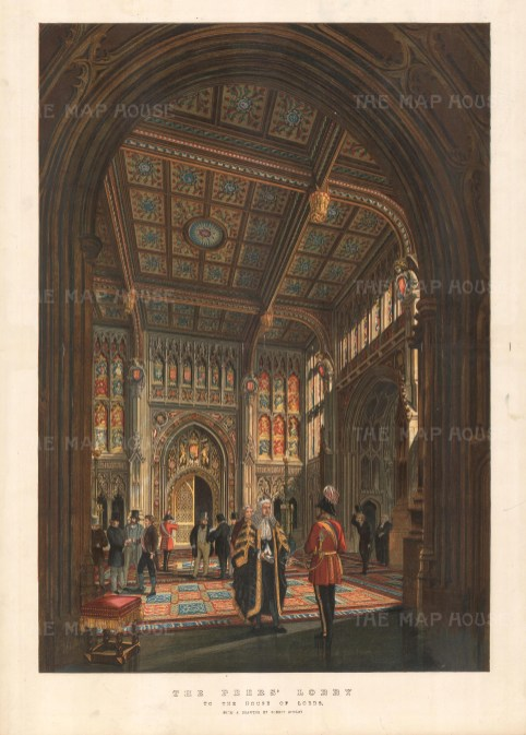 Interior of the Peers' Lobby after the 1834 fire.