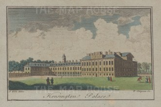 """Wale: Kensington Palace. c1780. A hand coloured original antique copper engraving. 4"""" x 3"""". [LDNp10171]"""