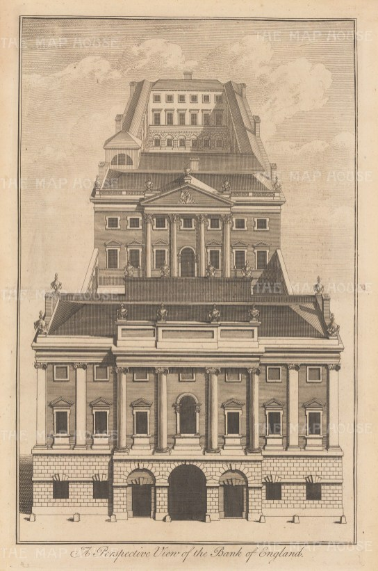 Perspective view on Threadneedle Street.