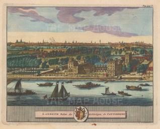 "van der Aa: Lambeth Palace. 1727. A hand coloured original antique copper engraving. 6"" x 5"". [LDNp10210]"