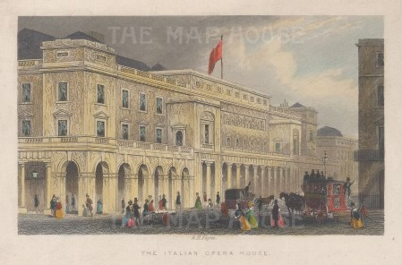 "Tallis: Italian Opera House. 1851. A hand coloured original antique steel engraving. 6"" x 4"". [LDNp10226]"