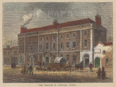 """Old & New: Peacock Theatre. c1880. A hand coloured original antique wood engraving. 6"""" x 4"""". [LDNp10257]"""