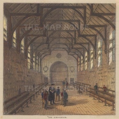 """Old & New: Westminster School. c1880. A hand coloured original antique wood engraving. 6"""" x 6"""". [LDNp10261]"""