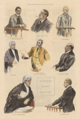 Baccarat Case. Sketches in the Court Room of the celebrated case of Sir Gordon-Cumming, accused of cheating at cards with the Prince of Wales amongst others.