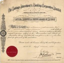 Savings Investment & Banking Corporation Ltd. 100 shares.