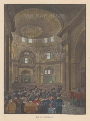 "Illustrated London News: Stock Exchange. c1890. A hand coloured original antique photo-lithograph. 6"" x 8"". [LDNp10470]"