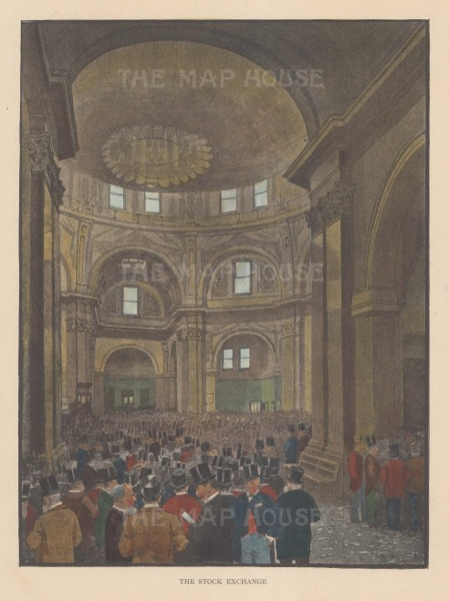 """Illustrated London News: Stock Exchange. c1890. A hand coloured original antique photo-lithograph. 6"""" x 8"""". [LDNp10470]"""