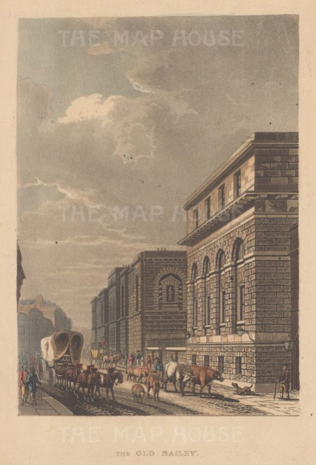 "Papworth: Old Bailey. 1818. An original colour antique aquatint. 6"" x 8"". [LDNp10624]"
