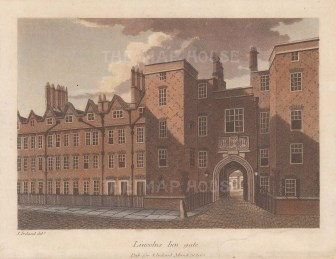 "Ireland: Lincoln's Inn Gate. 1812. An original colour antique aquatint. 7"" x 5"". [LDNp10626]"