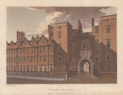 """Ireland: Lincoln's Inn Gate. 1812. An original colour antique aquatint. 7"""" x 5"""". [LDNp10626]"""