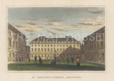 "Dugdale: St Bartholomew's Hospital. 1829. A hand coloured original antique steel engraving. 4"" x 3"". [LDNp10668]"