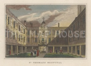 "Dugdale: St Thomas's Hospital. 1829. A hand coloured original antique steel engraving. 4"" x 3"". [LDNp10669]"