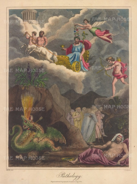 Apotheosis of Hippocrates. Hippocrates holds the Patera of Health and Staff of Aesculapius. Hygeia strews medicinal flowers whilst Apollo shoots the Python of Pestilence.