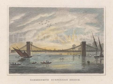 "Dugdale: Hammersmith Bridge. 1829. A hand coloured original antique steel engraving. 4"" x 3"". [LDNp10755]"