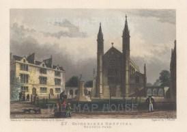"Fearnside: St Katherine's Hospital. 1838. A hand coloured original antique steel engraving. 6"" x 4"". [LDNp10859]"