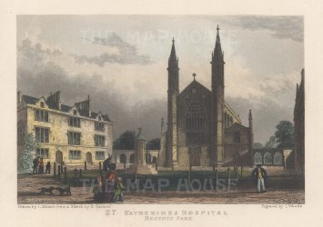 "Fearnside: St Katherine's Hospital. 1838. A hand coloured original antique steel engraving. 6"" x 4"". [LDNp10859]"