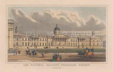 "Dugdale: National Gallery, Trafalgar Square. 1829. A hand coloured original antique steel engraving. 4"" x 3"". [LDNp10892]"