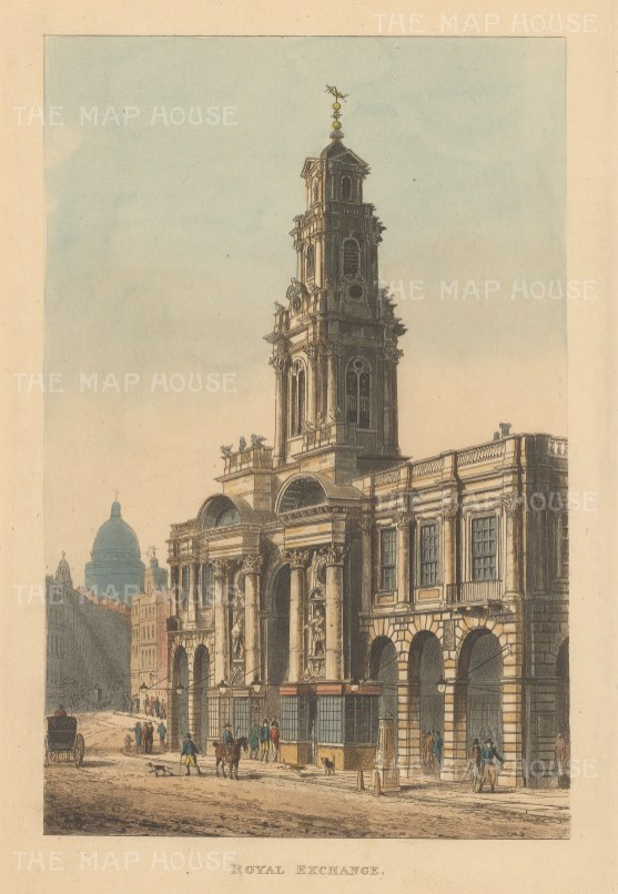 "Papworth: Royal Exchange. 1816. An original colour antique aquatint. 6"" x 9"". [LDNp6221]"