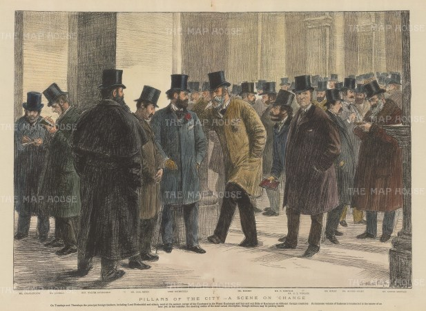 'Pillars of the City', scene with prominent stockbrokers.