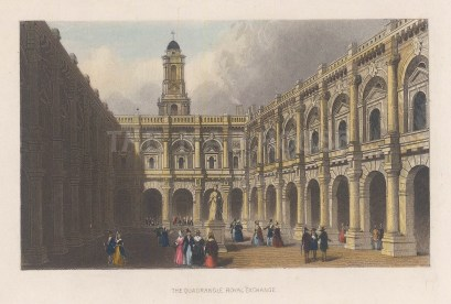 Arcade of the North Front. The Exchange was destroyed by fire in 1666 and again in 1838. The current building was designed by William Tite.