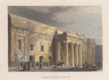 "Tallis: Covent Garden Theatre. 1851. A hand coloured original antique steel engraving. 4"" x 3"". [LDNp8738]"