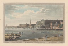 Somerset Place and the Adelphi. View across the Thames from Temple Garden. After Joseph Farington.