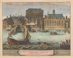 View of the palace of Whitehall from the Thames. Based on a view prior to the fire of 1698.