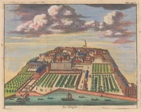 "van der Aa: Temple. 1727. A hand coloured original antique copper engraving. 6"" x 5"". [LDNp9272]"