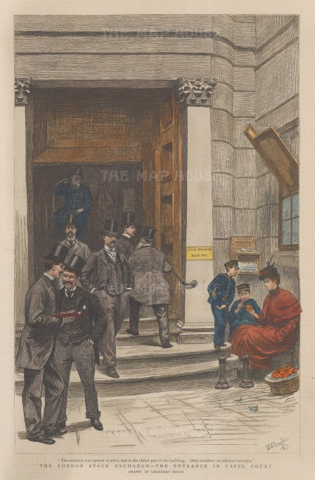 The entrance in Capel Court, with figures on the steps.