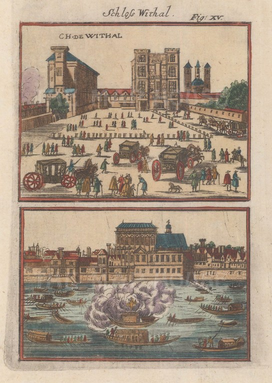 Double panorama of the palace and its banqueting hall before the fire of 1698.