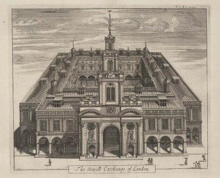 "Stow: Royal Exchange. 1733. An original antique copper engraving. 13"" x 10"". [LDNp9570]"