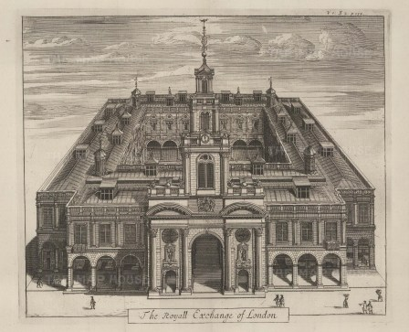 "Stow: Royal Exchange. 1733. An original antique copper engraving. 13"" x 10"". [LDNp9570]"