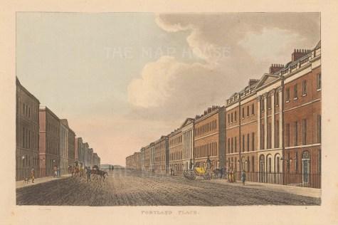 """Papworth: Portland Place. 1816. An original colour antique aquatint. 9"""" x 6"""". [LDNp9637]"""