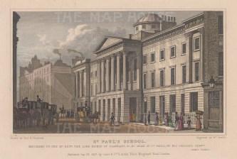 "Shepherd: St. Paul's School. 1828. A hand coloured original antique steel engraving. 8"" x 5"". [LDNp9834]"