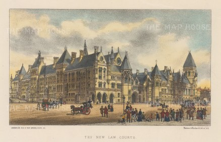 The New Law Courts. View from the Strand at the front elevation of the Royal Courts of Justice.
