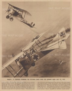 Major LG Hawker winning the VC over German Lines in 1915. With text describing the battle.