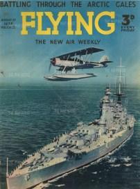 "Flying Magazine: Arctic Sea Plane and Battleship. 1938. An original vintage photo-lithograph. 17"" x 12"". [AVIp32]"