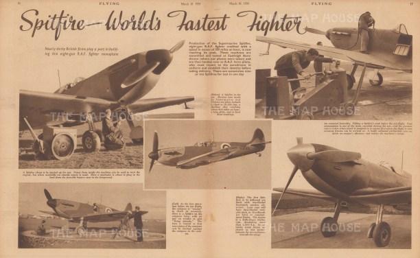 "Flying Magazine: Spitfire. 1939. An original black & white vintage photo-lithograph. 19"" x 11"". [AVIp37]"