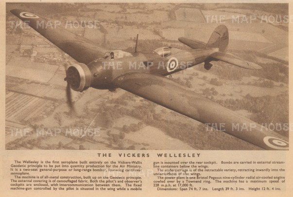 """Flying Magazine: Vickers Wellesley. 1938. An original vintage photo-lithograph. 10"""" x 5"""". [AVIp45]"""