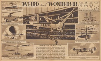 Nine views of Aeronautical inventions including the Autogiros, airships and early helicopters. With text.