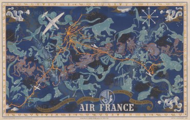 De Jour et de Nuit - De Nuit et de Jour - Dans Tous les Ciels. Promotional poster advertising Air France's 1938-39 routes. An illustrated map of the constellations overlaid on a faint world map traced in gold. The Air France routes are traced by bright orange lines with the cities on the routes are in gold boxes. Air France's signature hippocamp (winged seahorse) sits prominently above the title, and golden Zodiac signs decorate the border.