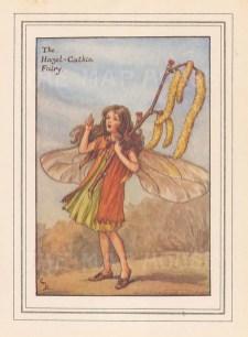 "Barker: Hazel-Catkin Fairy. c1927. An original vintage chromolithograph. 3"" x 4"". [DECp1437]"