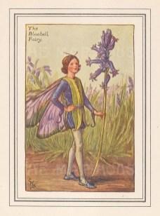 "Barker: Bluebell Fairy. c1927. An original vintage chromolithograph. 3"" x 4"". [DECp1585]"