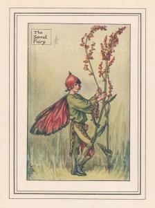"Barker: Sorrel Fairy. c1925. An original vintage chromolithograph. 3"" x 4"". [DECp2083]"
