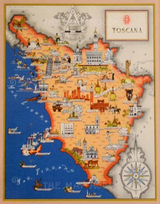 It 3400 c1939 5x 4 Toscana Charming pictorial map postcard of Tuscany. Reduced from the larger 1939 Artistic Edition of Giovanni De Agostini's 'Imago Italiae', illustrated by Russian artists Vsevolod Petrovic Nicouline. Printed colour. Framed