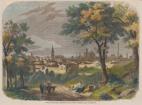 """Illustrated London News: Bologna. 1860. A hand coloured original antique wood engraving. 10"""" x 8"""". [ITp1892]"""